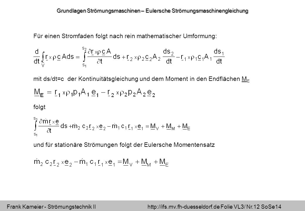 Grundlagen Strömungsmaschinen – Eulersche Strömungsmaschinengleichung