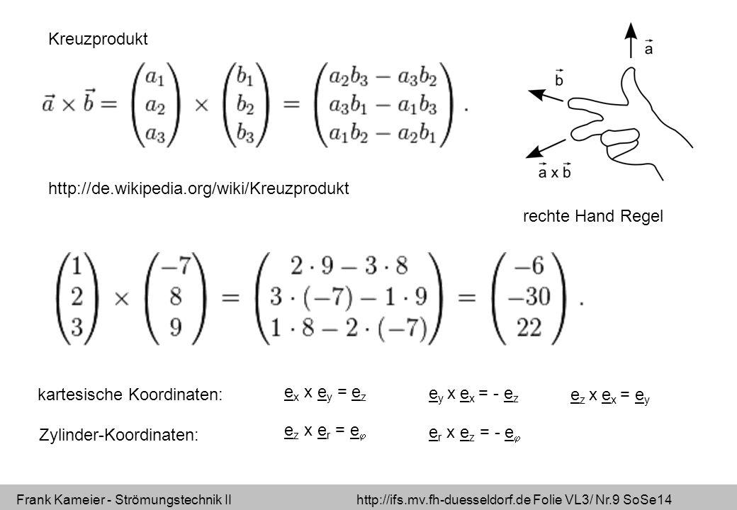 Kreuzprodukt http://de.wikipedia.org/wiki/Kreuzprodukt. rechte Hand Regel. kartesische Koordinaten: