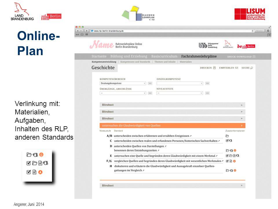 Online- Plan Verlinkung mit: Materialien, Aufgaben, Inhalten des RLP,