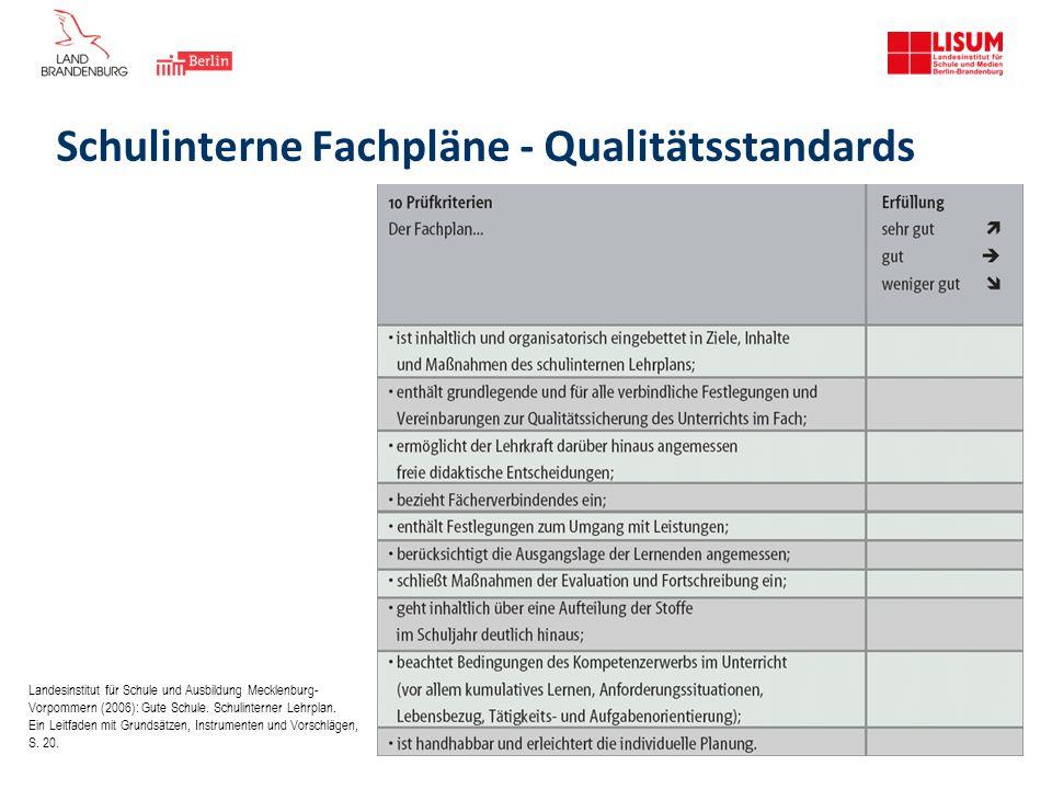Schulinterne Fachpläne - Qualitätsstandards