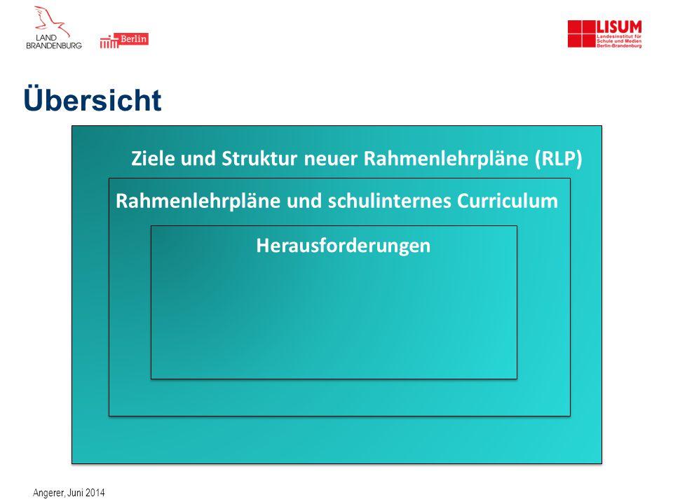 Übersicht Ziele und Struktur neuer Rahmenlehrpläne (RLP)