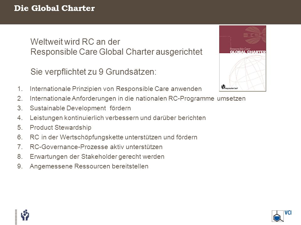 Weltweit wird RC an der Responsible Care Global Charter ausgerichtet