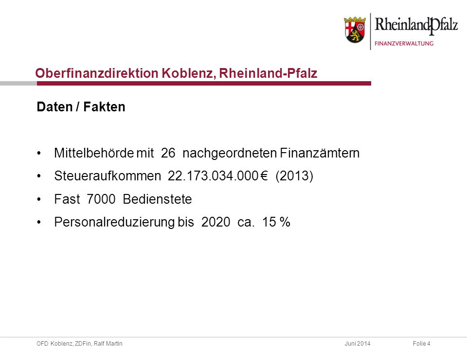 Oberfinanzdirektion Koblenz, Rheinland-Pfalz