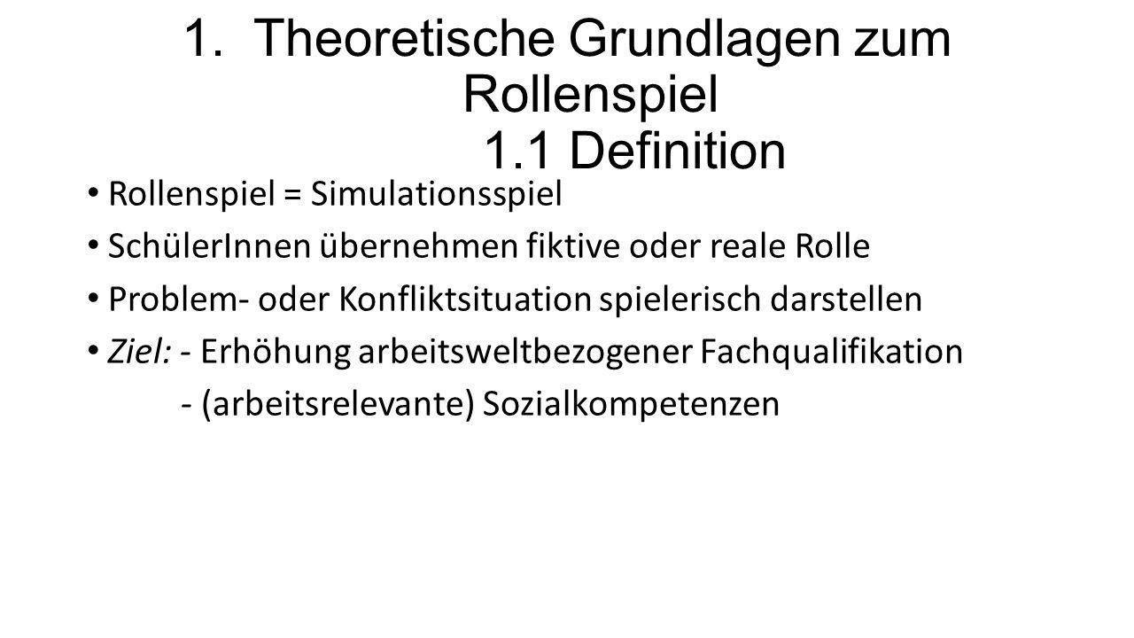 1. Theoretische Grundlagen zum Rollenspiel 1.1 Definition