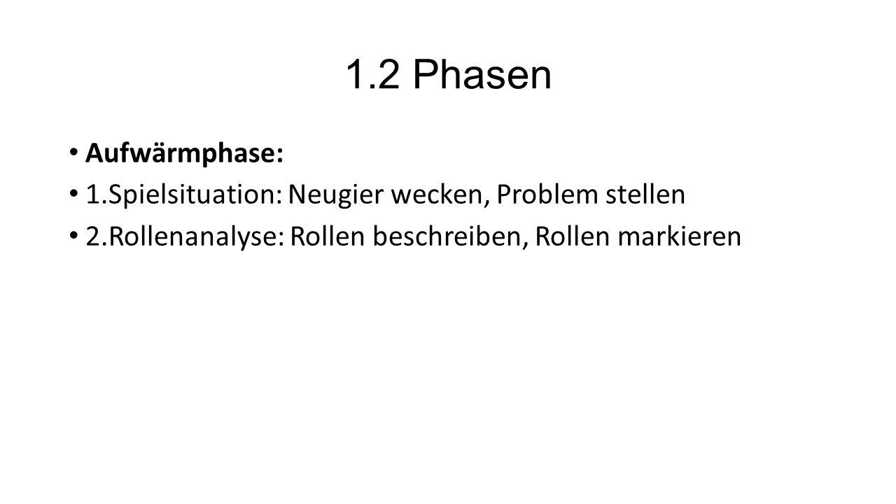 1.2 Phasen Aufwärmphase: 1.Spielsituation: Neugier wecken, Problem stellen.