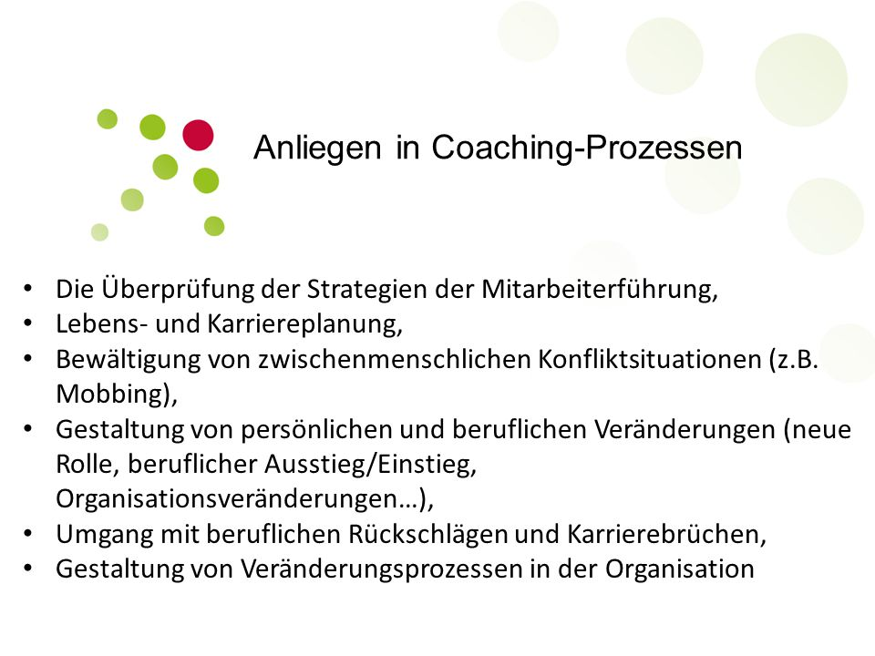 Anliegen in Coaching-Prozessen