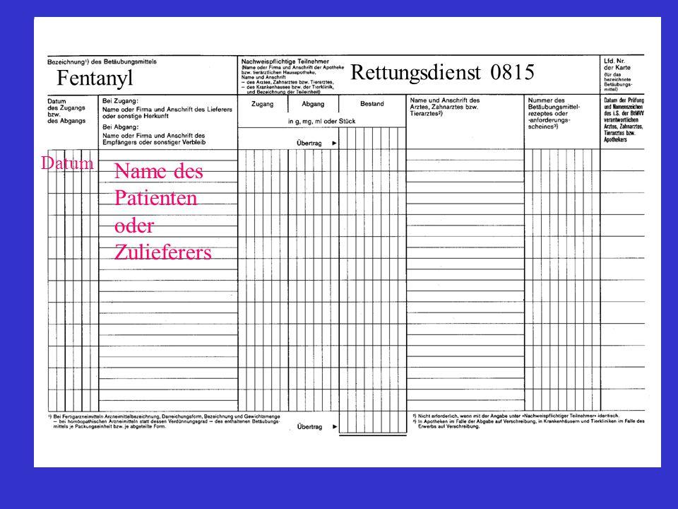 Rettungsdienst 0815 Fentanyl Datum Name des Patienten oder Zulieferers