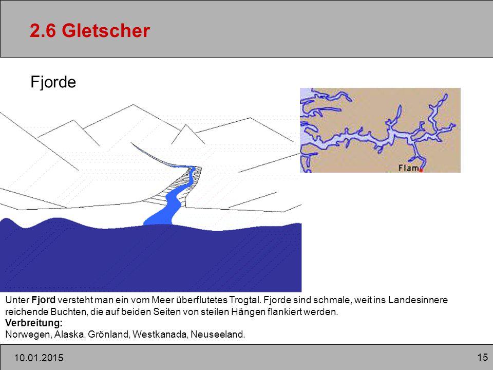 2.6 Gletscher Fjorde. Unter Fjord versteht man ein vom Meer überflutetes Trogtal. Fjorde sind schmale, weit ins Landesinnere.
