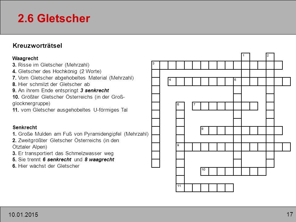 2.6 Gletscher Kreuzworträtsel 08.04.2017 Waagrecht