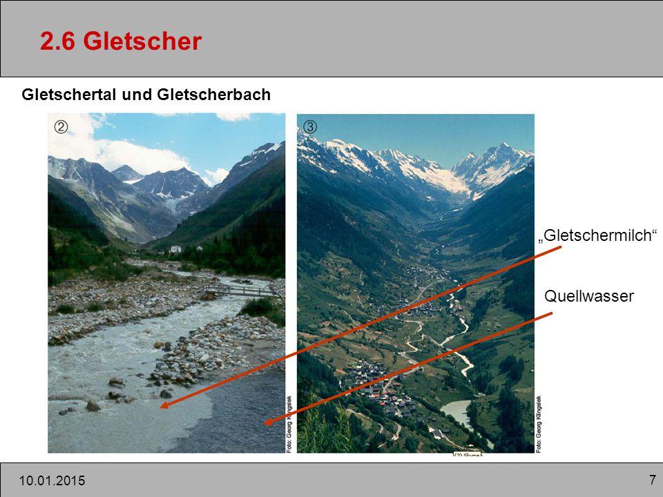 """2.6 Gletscher Gletschertal und Gletscherbach """"Gletschermilch"""