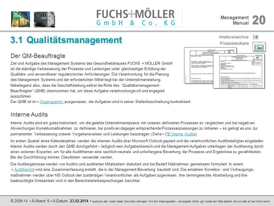 3.1 Qualitätsmanagement Der QM-Beauftragte Interne Audits