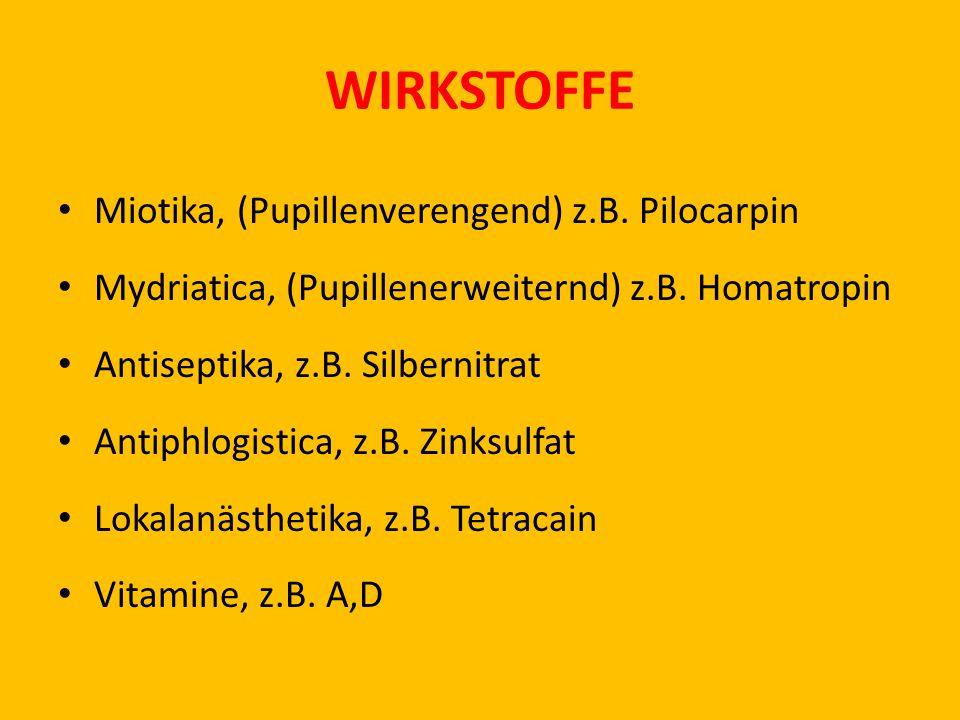 WIRKSTOFFE Miotika, (Pupillenverengend) z.B. Pilocarpin