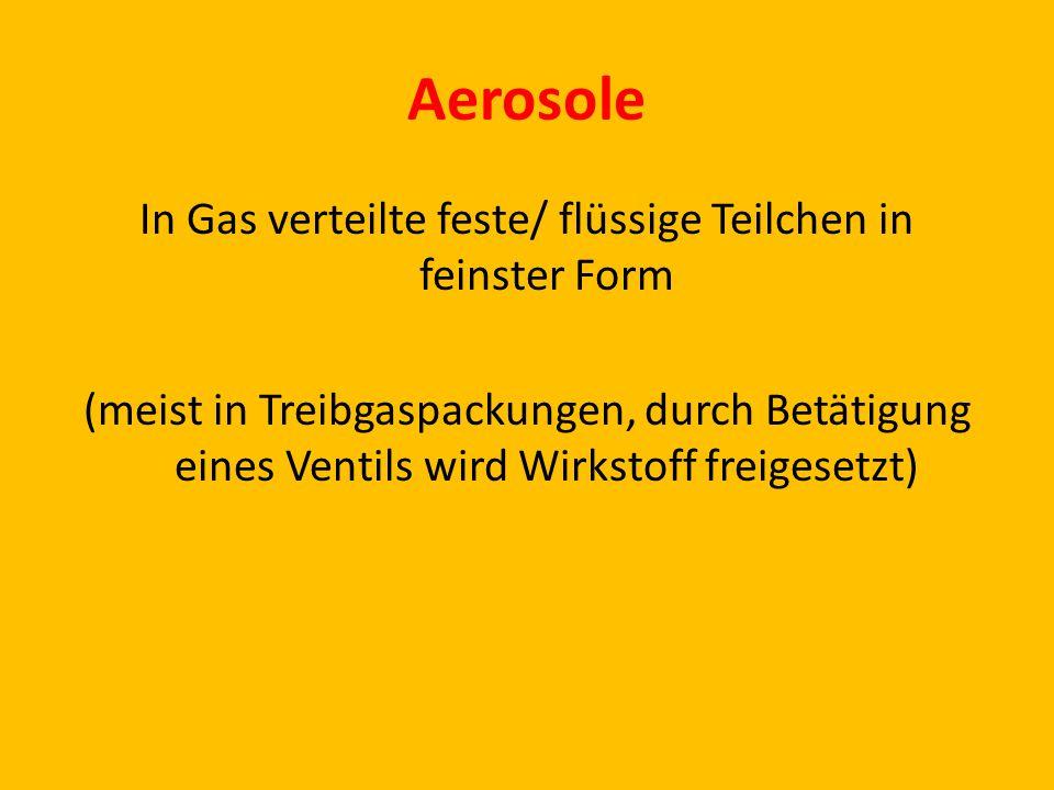 In Gas verteilte feste/ flüssige Teilchen in feinster Form