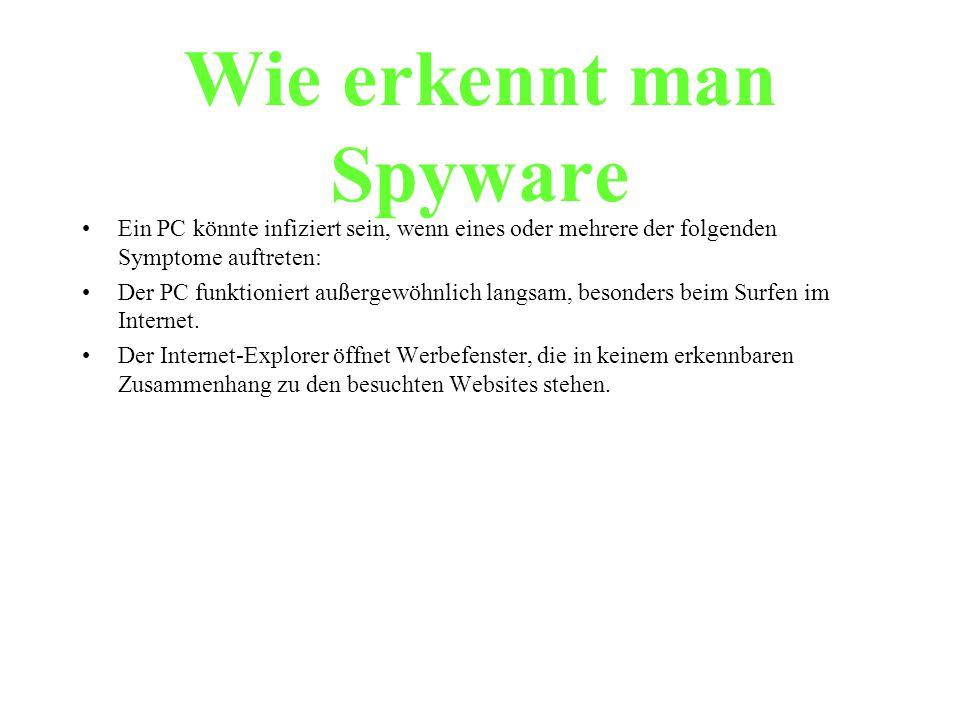 Wie erkennt man Spyware