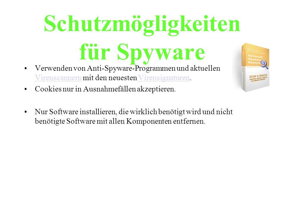 Schutzmögligkeiten für Spyware