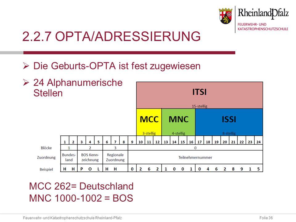 2.2.7 OPTA/ADressierung Die Geburts-OPTA ist fest zugewiesen