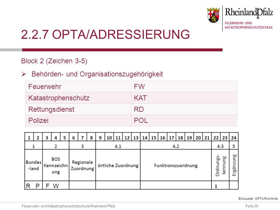 2.2.7 OPTA/ADressierung Block 2 (Zeichen 3-5)