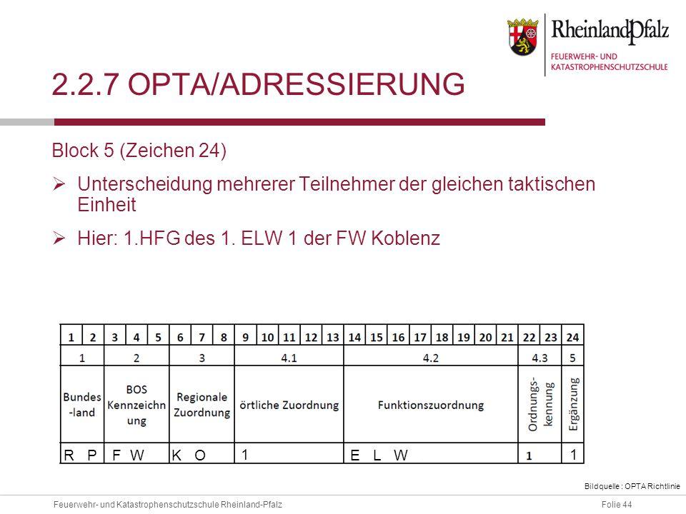 2.2.7 OPTA/ADressierung Block 5 (Zeichen 24)