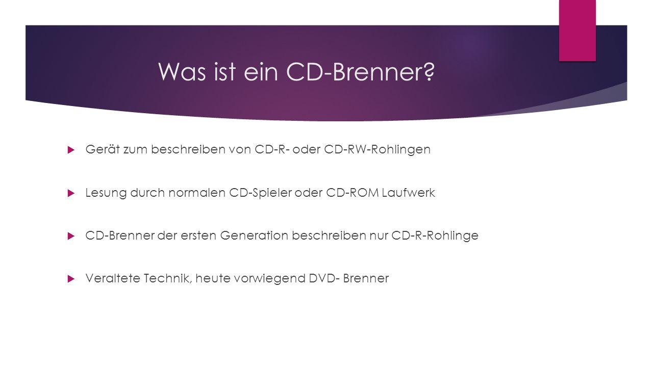 Was ist ein CD-Brenner Gerät zum beschreiben von CD-R- oder CD-RW-Rohlingen. Lesung durch normalen CD-Spieler oder CD-ROM Laufwerk.