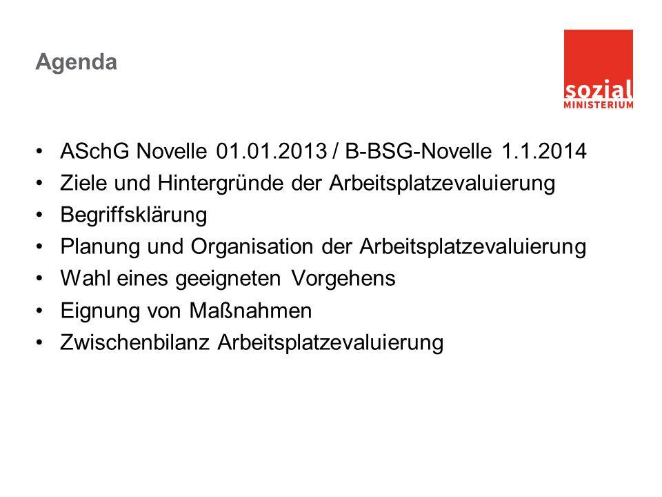 Agenda ASchG Novelle 01.01.2013 / B-BSG-Novelle 1.1.2014