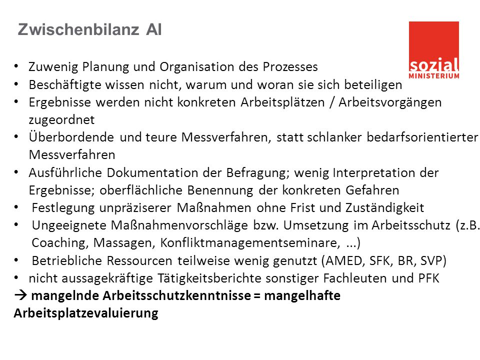 Zwischenbilanz AI Zuwenig Planung und Organisation des Prozesses
