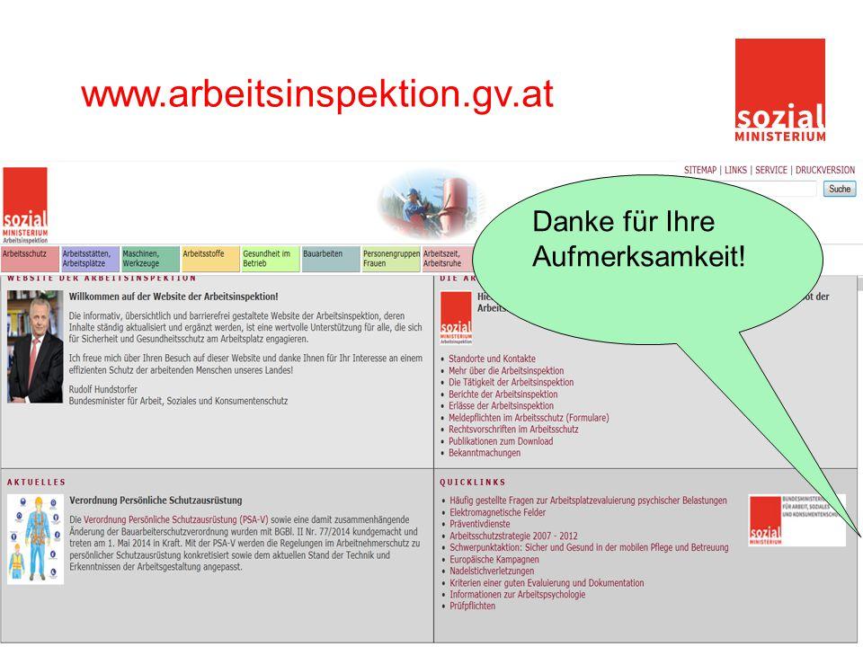www.arbeitsinspektion.gv.at Danke für Ihre Aufmerksamkeit!