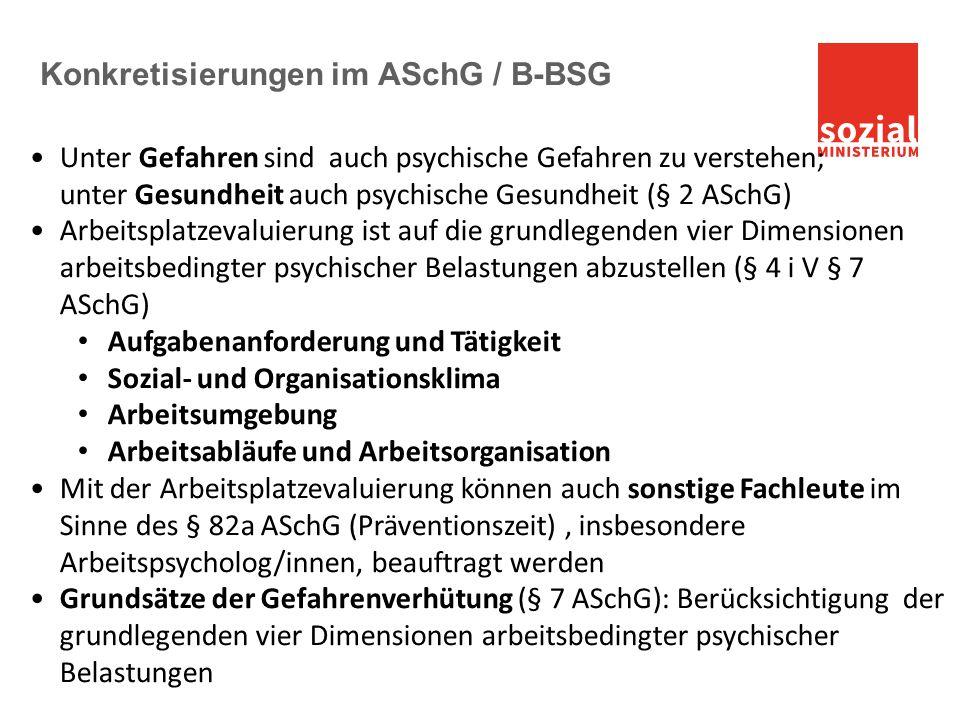 Konkretisierungen im ASchG / B-BSG