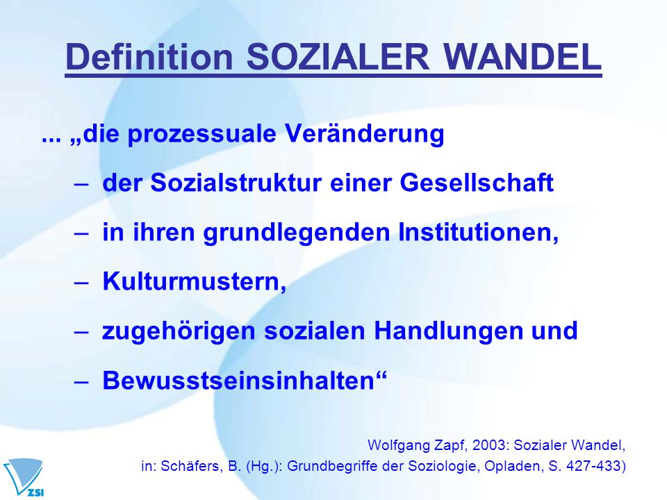 Definition SOZIALER WANDEL