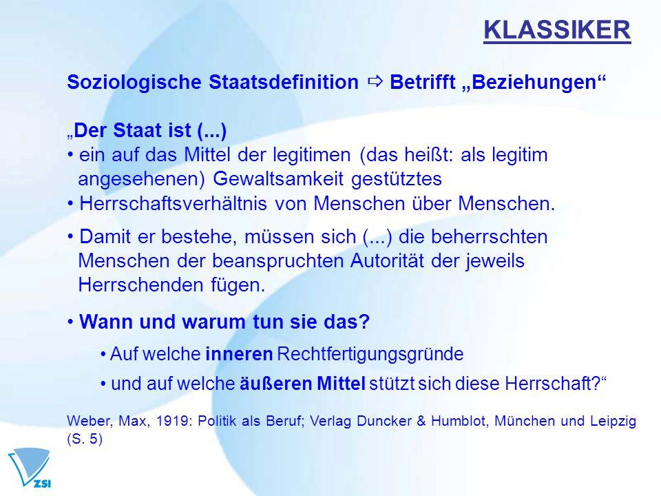 "KLASSIKER Soziologische Staatsdefinition  Betrifft ""Beziehungen"