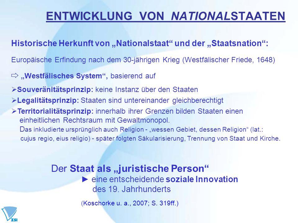 ENTWICKLUNG VON NATIONALSTAATEN