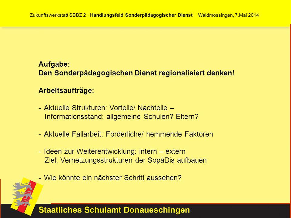 Aufgabe: Den Sonderpädagogischen Dienst regionalisiert denken! Arbeitsaufträge: Aktuelle Strukturen: Vorteile/ Nachteile –