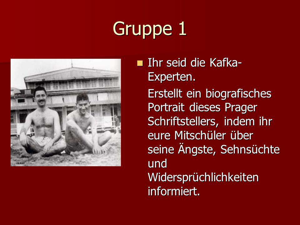 Gruppe 1 Ihr seid die Kafka-Experten.