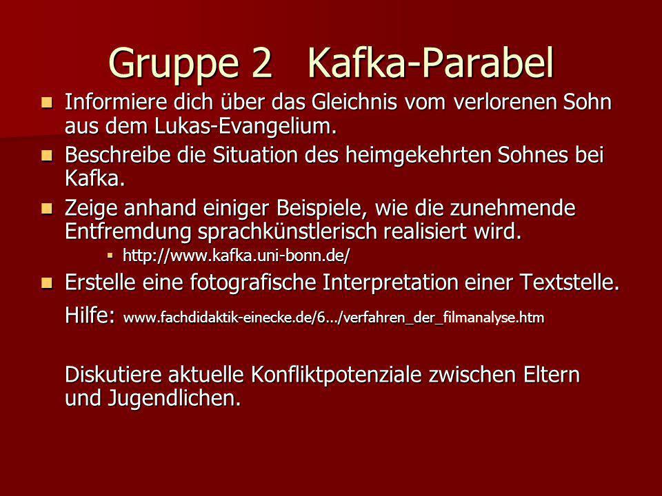 Gruppe 2 Kafka-Parabel Informiere dich über das Gleichnis vom verlorenen Sohn aus dem Lukas-Evangelium.