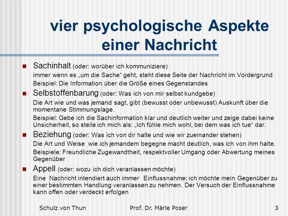 vier psychologische Aspekte einer Nachricht