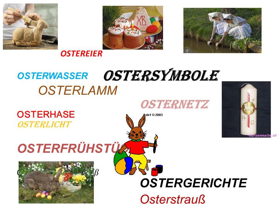 OSTERSYMBOLE OSTERNETZ OSTERGERICHTE Osterstrauß OSTEREIER OSTERWASSER