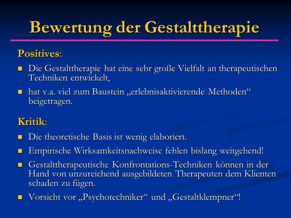 Bewertung der Gestalttherapie