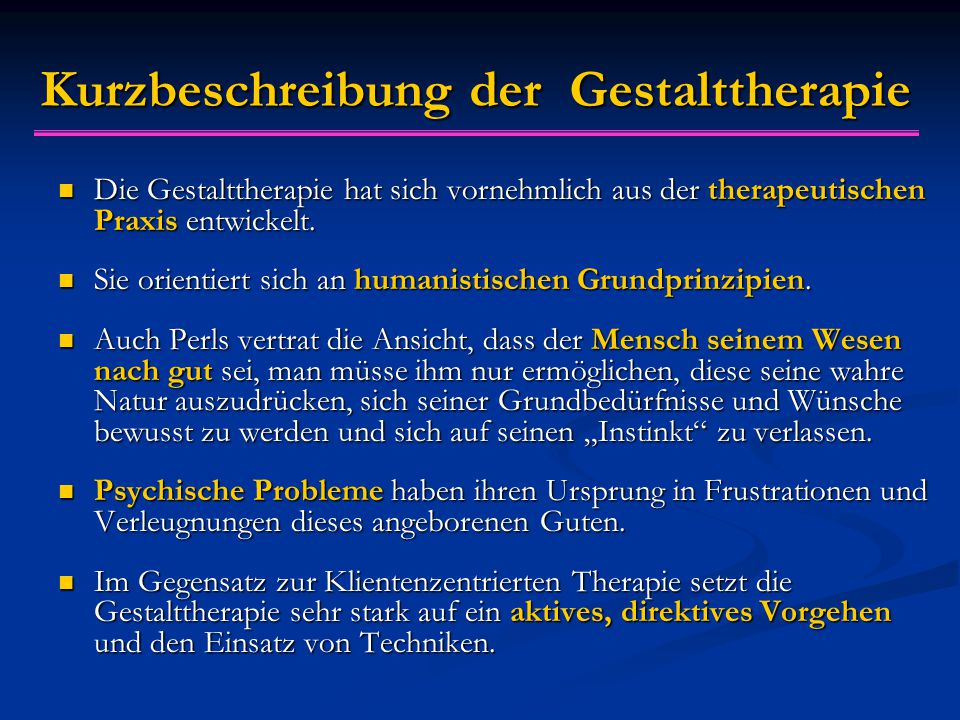 Kurzbeschreibung der Gestalttherapie