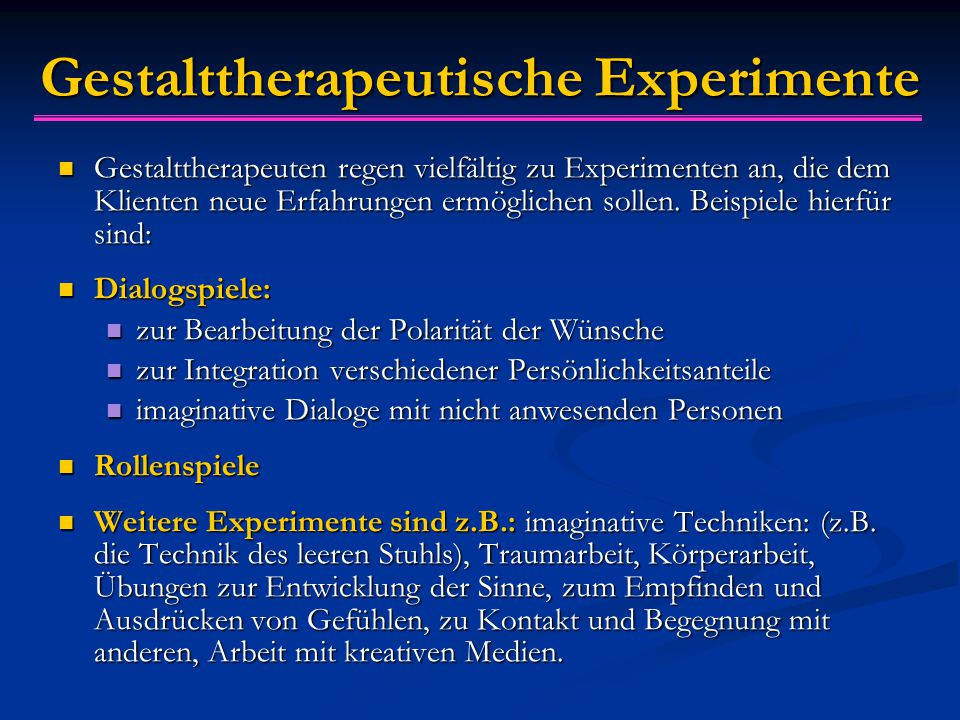 Gestalttherapeutische Experimente