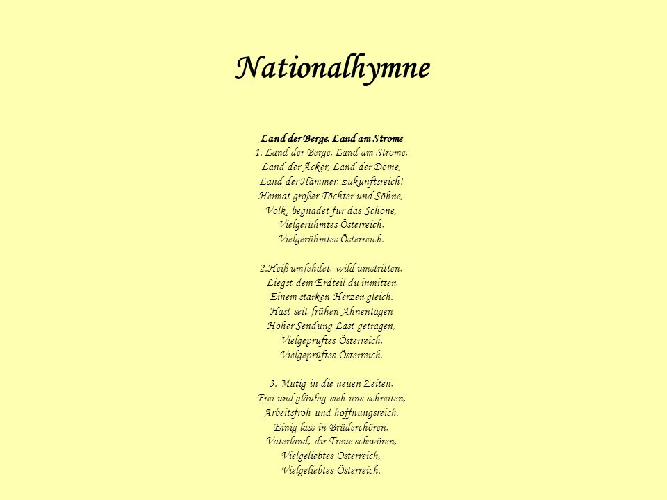 Nationalhymne Land der Berge, Land am Strome 1