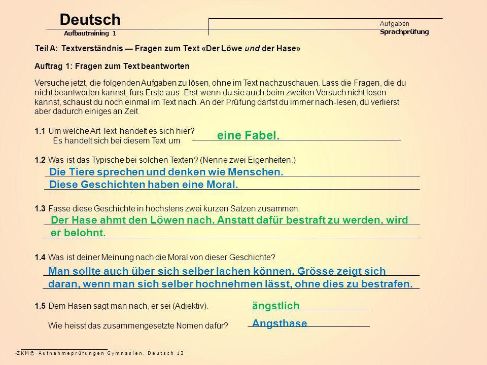 Deutsch eine Fabel. Die Tiere sprechen und denken wie Menschen.