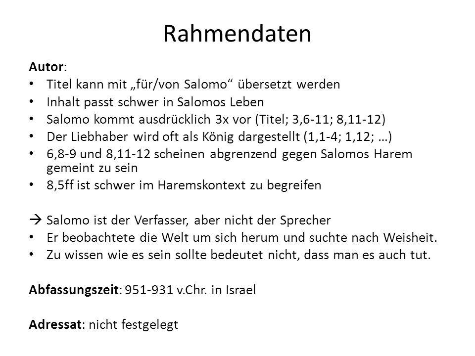 """Rahmendaten Autor: Titel kann mit """"für/von Salomo übersetzt werden"""