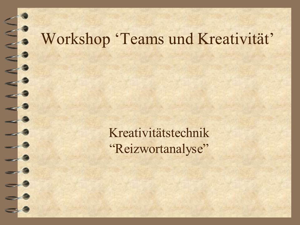 Workshop 'Teams und Kreativität'
