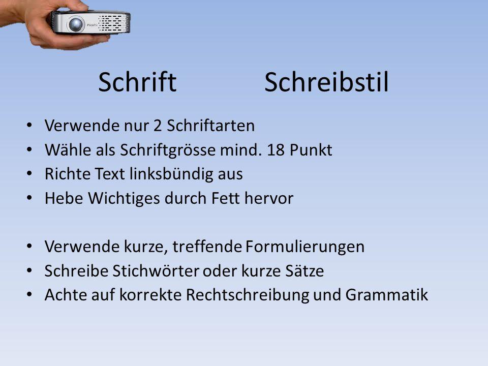 Schrift Schreibstil Verwende nur 2 Schriftarten