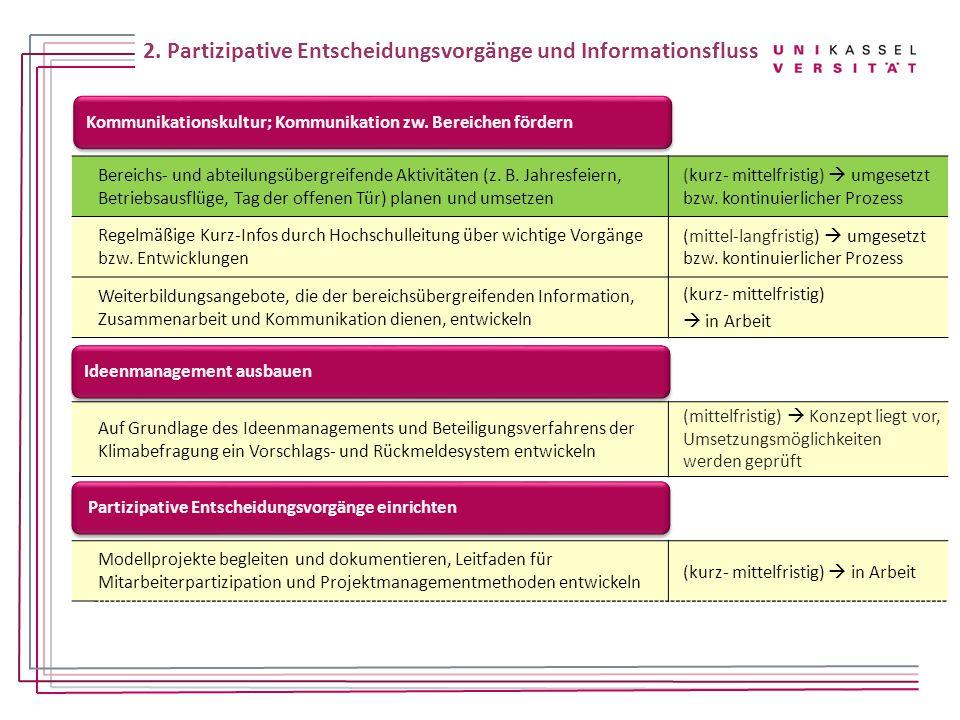 2. Partizipative Entscheidungsvorgänge und Informationsfluss
