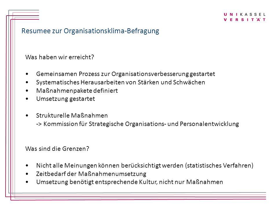 Resumee zur Organisationsklima-Befragung
