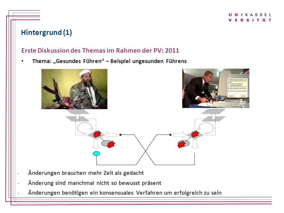 Hintergrund (1) Erste Diskussion des Themas im Rahmen der PV: 2011