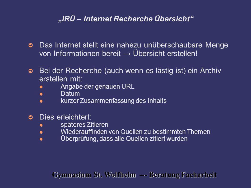 """""""IRÜ – Internet Recherche Übersicht"""