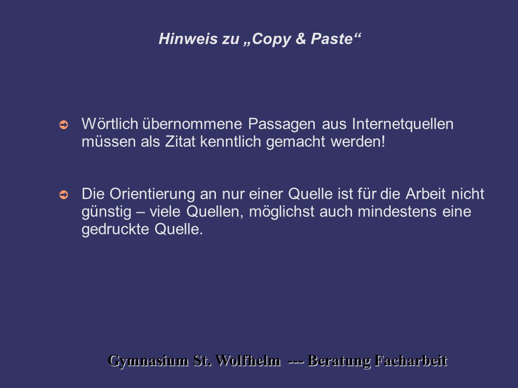 "Hinweis zu ""Copy & Paste"