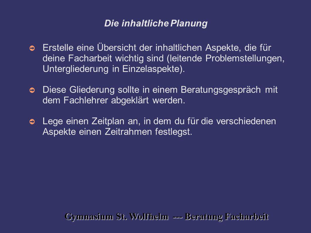 Die inhaltliche Planung