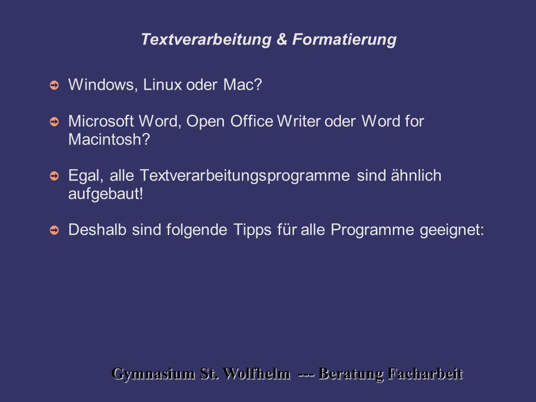 Textverarbeitung & Formatierung